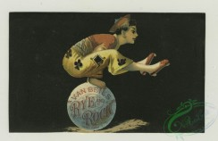 prang_cards_people-00068 - 1394-Cigarette cards entitled 'between the acts & bravo' of Nellie Bingham and Bessie Darling, Trade cards depicting a deer, angels, flowers and acrobats 101575