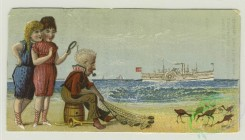 prang_cards_people-00070 - 1405-Cigarette cards entitled 'between the acts and bravo' of Maggie Moore, Chester and Branscombe, Trade cards depicting beaches, ships, cats climbing a 101653