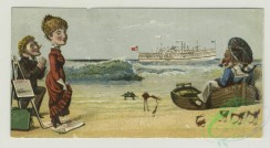 prang_cards_people-00071 - 1405-Cigarette cards entitled 'between the acts and bravo' of Maggie Moore, Chester and Branscombe, Trade cards depicting beaches, ships, cats climbing a 101654