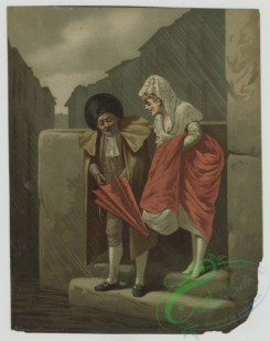 prang_cards_people-00074 - 1417-(A man and woman stepping out from a building and opening an umbrella.) 101706