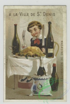 prang_cards_people-00087 - 1468-Trade cards depicting a coachman, a man eating a meal, a man with wine bottles and a servant of African descent 101955