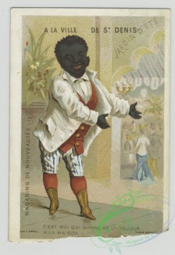 prang_cards_people-00088 - 1468-Trade cards depicting a coachman, a man eating a meal, a man with wine bottles and a servant of African descent 101957