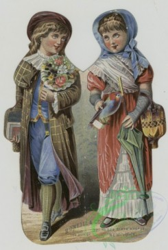 prang_cards_people-00097 - 1491-(An embossed trade card depicting a girl and boy walking and carrying bags, flowers, an umbrella and a bird.) 102056