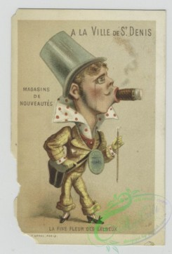 prang_cards_people-00101 - 1558-Trade cards depicting caricatures of a woman as a perfume bottle, an explorer, a man with a cigar, and a man turning into a mushroom 102361