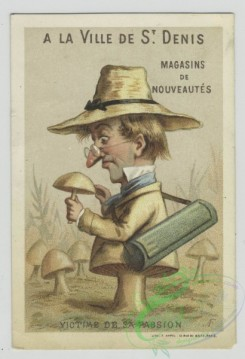 prang_cards_people-00102 - 1558-Trade cards depicting caricatures of a woman as a perfume bottle, an explorer, a man with a cigar, and a man turning into a mushroom 102362