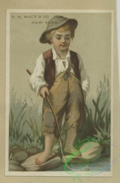 prang_cards_people-00125 - 1641-Trade cards depicting children-fishing, with an umbrella and in ragged clothing, cards depicting the following flowers personified-fuchsia, h 102775