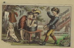 prang_cards_people-00130 - 1662-Trade cards depicting a fan, soap, yarn, knitting, laughing, a woman doing the laundry, a soldier talking to a girl 102908
