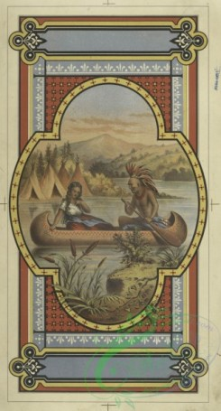 prang_cards_people-00140 - 1718-A print depicting a Native American man, a woman, a canoe, a river, tepees, mountains and decorative ornamentation 103343