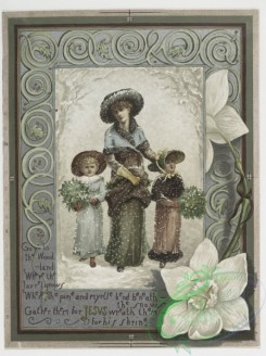 prang_cards_women-00002 - 0142-Prize Christmas cards depicting mother with children, snow, flowers, butterflies, and musical instruments 101776