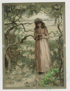 prang_cards_women-00010 - 0405-Valentines depicting woman in field with tree, flowers, and birds's nest, decorative vase with flowers 105573