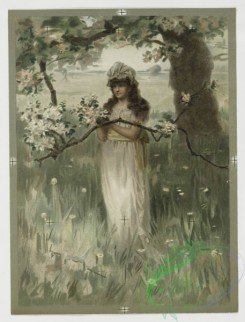 prang_cards_women-00011 - 0405-Valentines depicting woman in field with tree, flowers, and birds's nest, decorative vase with flowers 105574