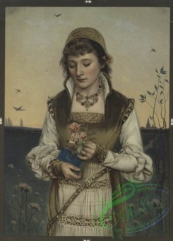 prang_cards_women-00014 - 0452-Christmas and Valentine cards depicting portraits of women and holly 105938