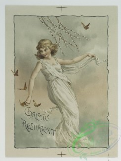 prang_cards_women-00017 - 0600-Easter and Christmas cards depicting woman decorated with flowers, children with holly, plants and flowers 106897