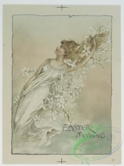 prang_cards_women-00018 - 0600-Easter and Christmas cards depicting woman decorated with flowers, children with holly, plants and flowers 106898