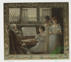 prang_cards_women-00021 - 0750-A Christmas card depicting a man playing the violin, a woman playing the piano, two women singing, a window and holly 107556