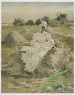 prang_cards_women-00027 - 1028-Phyllis (portrait of woman in field with hay stacks.) 100100