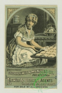 prang_cards_women-00055 - 1311-Trade cards depicting women baking, baking powder, corn starch, biscuits being pulled from the oven, a woman carrying steaming food and being followed 101178