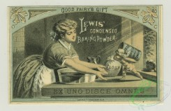 prang_cards_women-00056 - 1311-Trade cards depicting women baking, baking powder, corn starch, biscuits being pulled from the oven, a woman carrying steaming food and being followed 101180