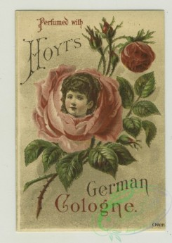 prang_cards_women-00057 - 1314-Trade cards depicting a rose with a girl's head, boys riding frogs, Little Red Riding Hood, the wolf, women in a boat and a man shooting another man w 101189