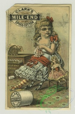 prang_cards_women-00059 - 1318-(A cigarette card of Miss Neilson in Shakespeare's 'Twelfth Night' and trade cards depicting a girl with glasses sewing, a doll, flowers, various hors 101201