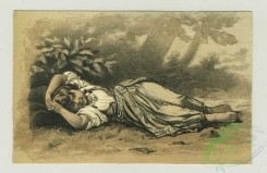 prang_cards_women-00066 - 1361-Trade cards depicting children laying in the grass, a horse race, a lamb, an American flag and children watering flowers 101391