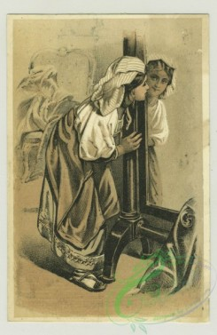 prang_cards_women-00071 - 1377-Trade cards depicting a boy in the snow with a shovel, a boy warming by a heater, a woman looking in a mirror, a woman holding a baby, The versos dep 101481