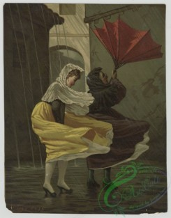 prang_cards_women-00073 - 1413-(A print depicting women in a windy rainstorm with an umbrella blown inside out.) 101701