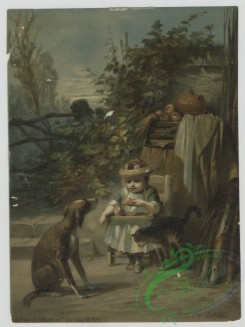prang_cards_women-00074 - 1414-(A print depicting a child eating outside with a dog and cat.) 101702
