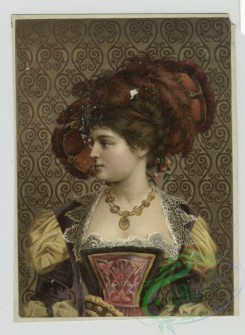 prang_cards_women-00076 - 1418-Prints depicting portraits of woman wearing feather hats, jewelry and dresses, standing in front of wallpaper 101708