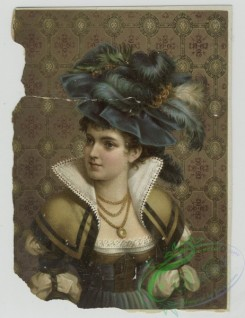 prang_cards_women-00077 - 1418-Prints depicting portraits of woman wearing feather hats, jewelry and dresses, standing in front of wallpaper 101709