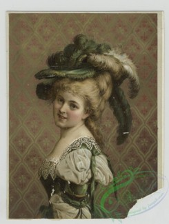 prang_cards_women-00078 - 1418-Prints depicting portraits of woman wearing feather hats, jewelry and dresses, standing in front of wallpaper 101710