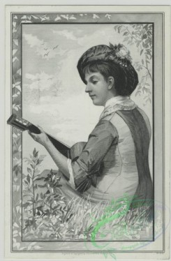 prang_cards_women-00079 - 1475-(A trade card depicting a woman playing a guitar outdoors.) 101982