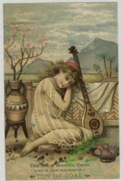 prang_cards_women-00082 - 1512-(A calendar and trade cards depicting a man, a woman, fruit, a musical instrument, a cat and paintings of landscapes.) 102154