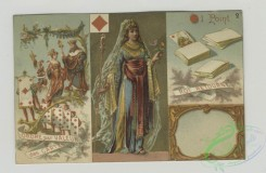 prang_cards_women-00085 - 1524-Trade cards depicting playing cards, the Queen of Diamonds, the Jack of Clubs, soldiers, children, eggs, chicken, rooster, snow and an umbrella 102212