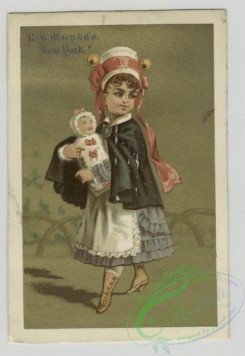 prang_cards_women-00087 - 1536-Trade cards depicting a puppy, envelope, a soldier boy, a woman carrying a baby and men with large hats 102252