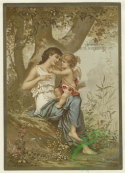 prang_cards_women-00100 - 1591-(A trade card depicting an angel sitting on a woman's lap under a tree.) 102521