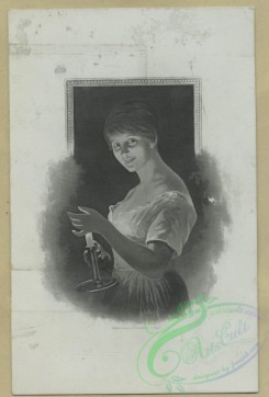 prang_cards_women-00102 - 1597-(A card depicting a woman carrying a candle.) 102541