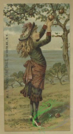 prang_cards_women-00103 - 1603-Trade cards depicting ships, budding plants and girls-smelling flowers and picking apples 102569