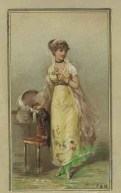 prang_cards_women-00108 - 1634-Easter and trade cards depicting women, children, birds, eggs, thread, a birdcage and a boat made from an egg 102733