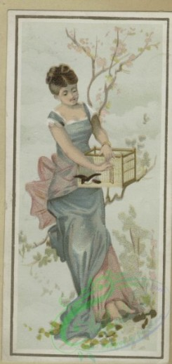 prang_cards_women-00110 - 1634-Easter and trade cards depicting women, children, birds, eggs, thread, a birdcage and a boat made from an egg 102735