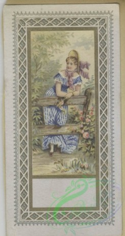 prang_cards_women-00114 - 1644-Trade cards depicting flowers, women, children, child soldiers, roses, fences, birds, flowers personified, a butterfly and a dog being washed 102796