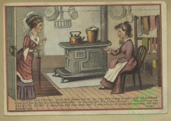 prang_cards_women-00117 - 1666-Trade cards depicting a kitchen, thread, railroads, boats, sailors at work, children smoking and drinking, a man presenting a woman with a birds nest 102923