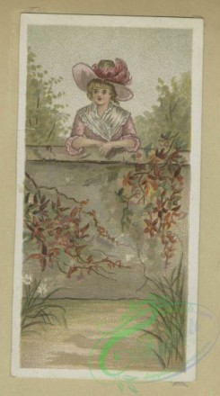 prang_cards_women-00129 - 1685-Trade cards depicting flowers, a woman, birds in the snow and infants in a wicker basket 103062