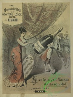 prang_cards_women-00132 - 1719-(An advertisement for George Goulet's Champagne and a masquerade ball at the Academy of Music & Nilsson Hall, depicting dancing and a woman carrying a 103344
