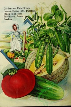 seeds_catalogs-05904 - 083-Pea, Tomato, Cucumber, Muskmelon, Woman sitting on fence, basket with vegetables [2865x4326]