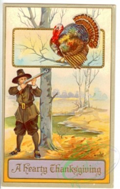 thanksgiving_day_postcards-00041 - 041-Hunter shooting Turkey, tree, a Hearty Thanksgiving [1906x3000]
