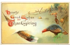 thanksgiving_day_postcards-00078 - 078-Turkey, Feather, Sheaf, Hearty good wishes for Thanksgiving day [3000x1937]