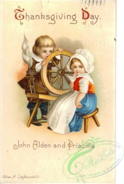 thanksgiving_day_postcards-00091 - 091-Boy, Girl, Sewing machine, John Alden and Priscilla [2020x3000]