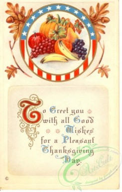 thanksgiving_day_postcards-00096 - 096-USA flag, Round, fruits, To greet you with all good wishes... [1905x3000]
