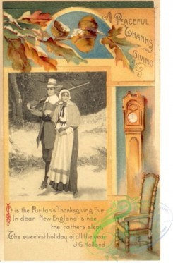 thanksgiving_day_postcards-00103 - 103-Hunter, Woman, Chair, Clock, acorn, It is the Puritans Thanksgiving Eve... [1973x3000]